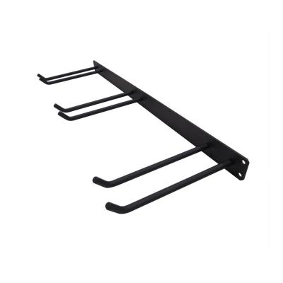 32 in. Heavy-Duty 3-Prong Tool Rack Holder in Black Steel