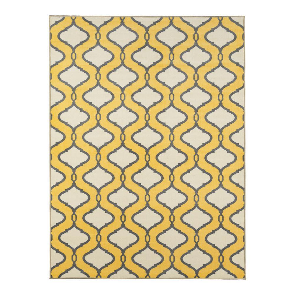 Ottomanson Studio Collection Trellis Design Yellow 3 ft. x 5 ft. Non-Skid Area Rug