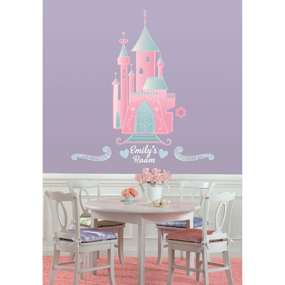 RoomMates Disney Princess Castle Peel And Stick Giant Wall Decor With  Personalization