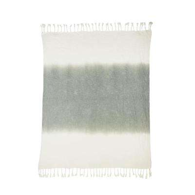 Shibori Ombre Slub Gray 50 in. x 60 in. Throw Blanket