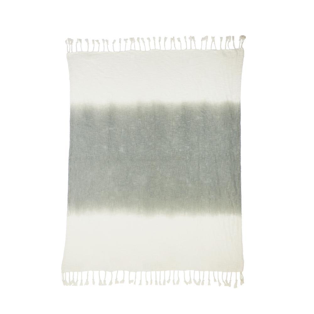 Shibori Ombre Slub Gray 50 in. x 60 in. Throw Blanket