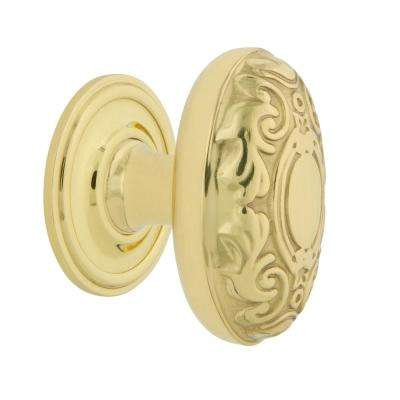 Victorian 1-3/4 in. Unlacquered Brass Cabinet Knob with Classic Rose