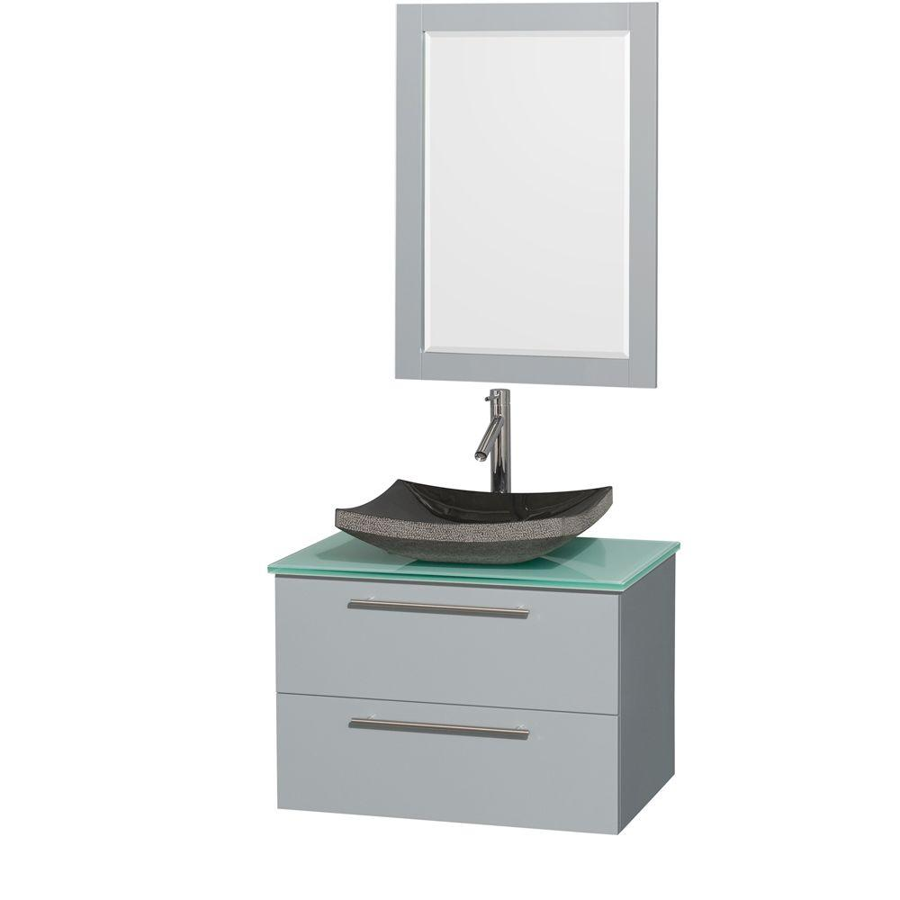 Wyndham Collection Amare 30 in. W x 20.5 in. D Vanity in Dove Gray with Glass Vanity Top in Green with Black Basin and 24 in. Mirror
