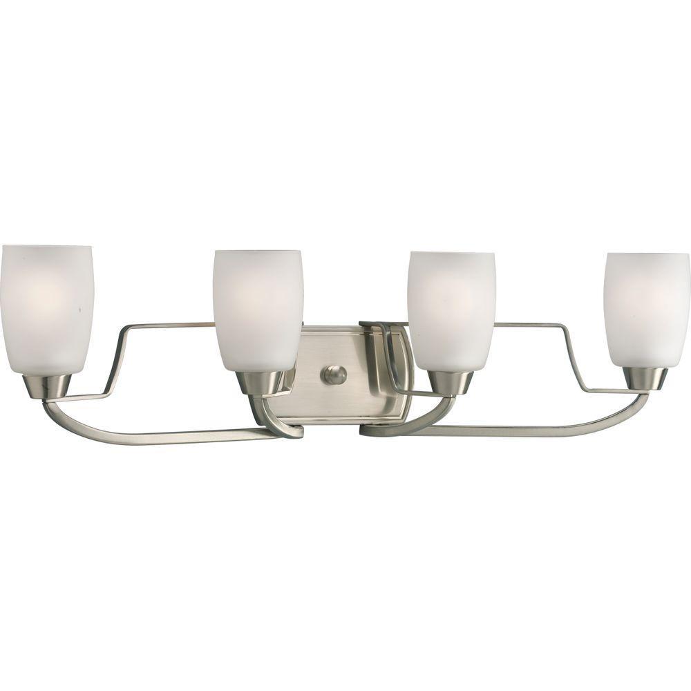 Wisten 4-Light Brushed Nickel Bathroom Vanity Light with Glass Shades