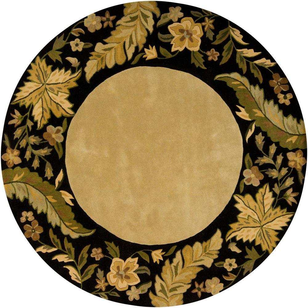 Chandra Metro Green/Gold/Beige/Black/Brown 7 ft. 9 in. x 7 ft. 9 in. Indoor Round Area Rug