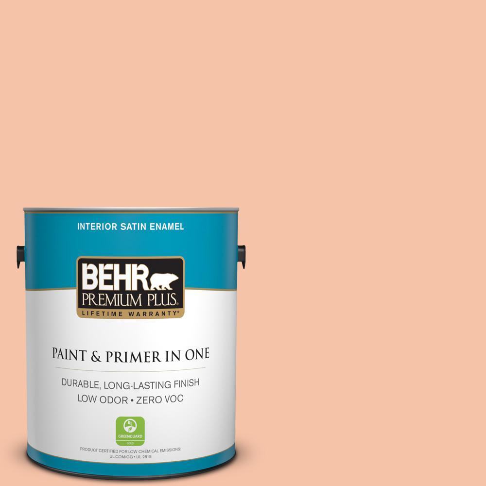 BEHR Premium Plus 1-gal. #240C-3 Peach Damask Zero VOC Satin Enamel Interior Paint
