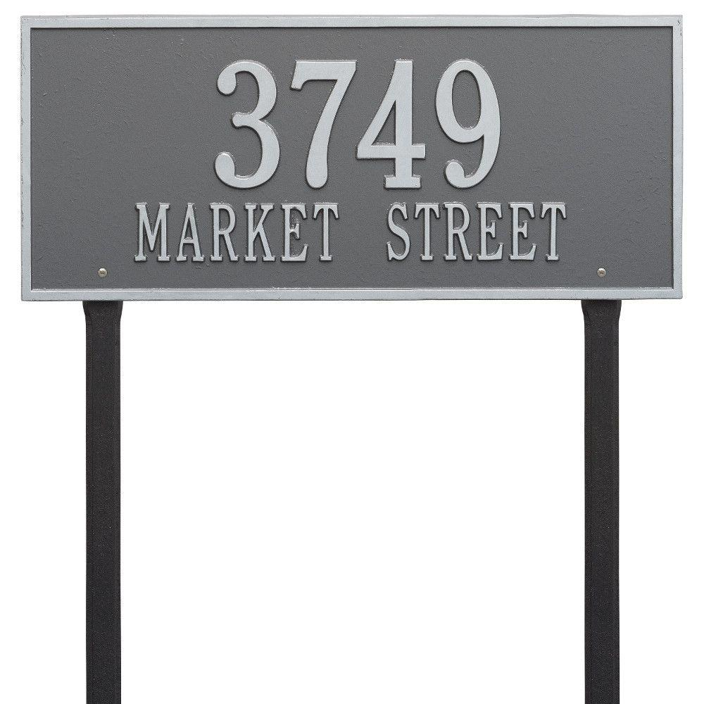 Whitehall Products Hartford Rectangular Pewter/Silver Estate Lawn 2-Line Address Plaque