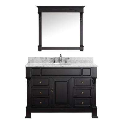 Huntshire Manor 49 in. W Bath Vanity in Dark Espresso with Marble Vanity Top in White with Round Basin and Mirror