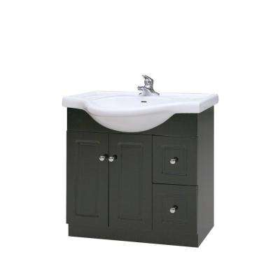 31 in. W x 12 in. D x 27 in. H Semi-Contemporary Vanity in Espresso with Ceramic Vanity Top in White with White Basin
