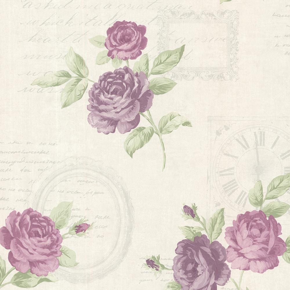 Brewster 56 4 Sq Ft Venetia Violet Vintage Rose Toss Wallpaper