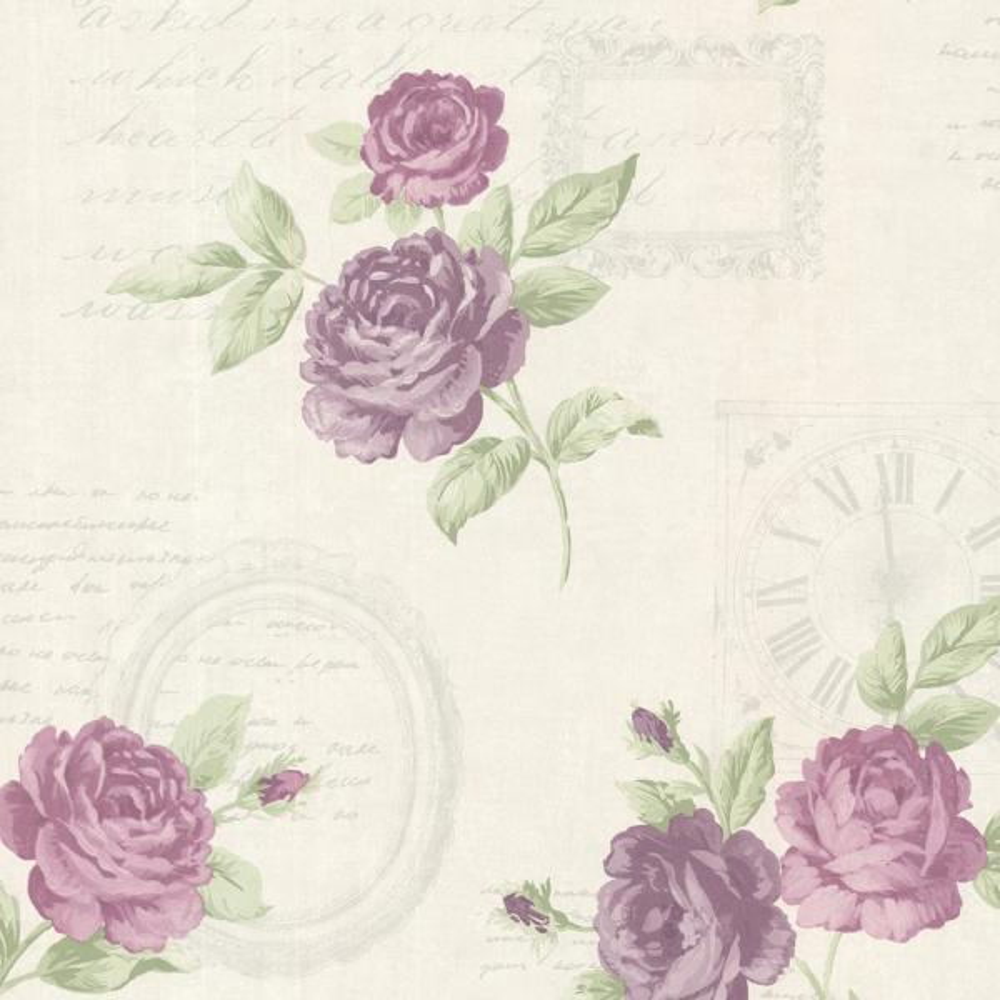 Brewster 8 in. x 10 in. Venetia Violet Vintage Rose Toss Wallpaper Sample