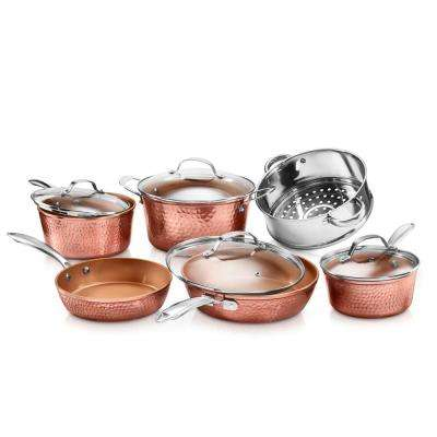 Hammered Copper 10-Piece Non-Stick Ti-Ceramic Cookware Set with Lids