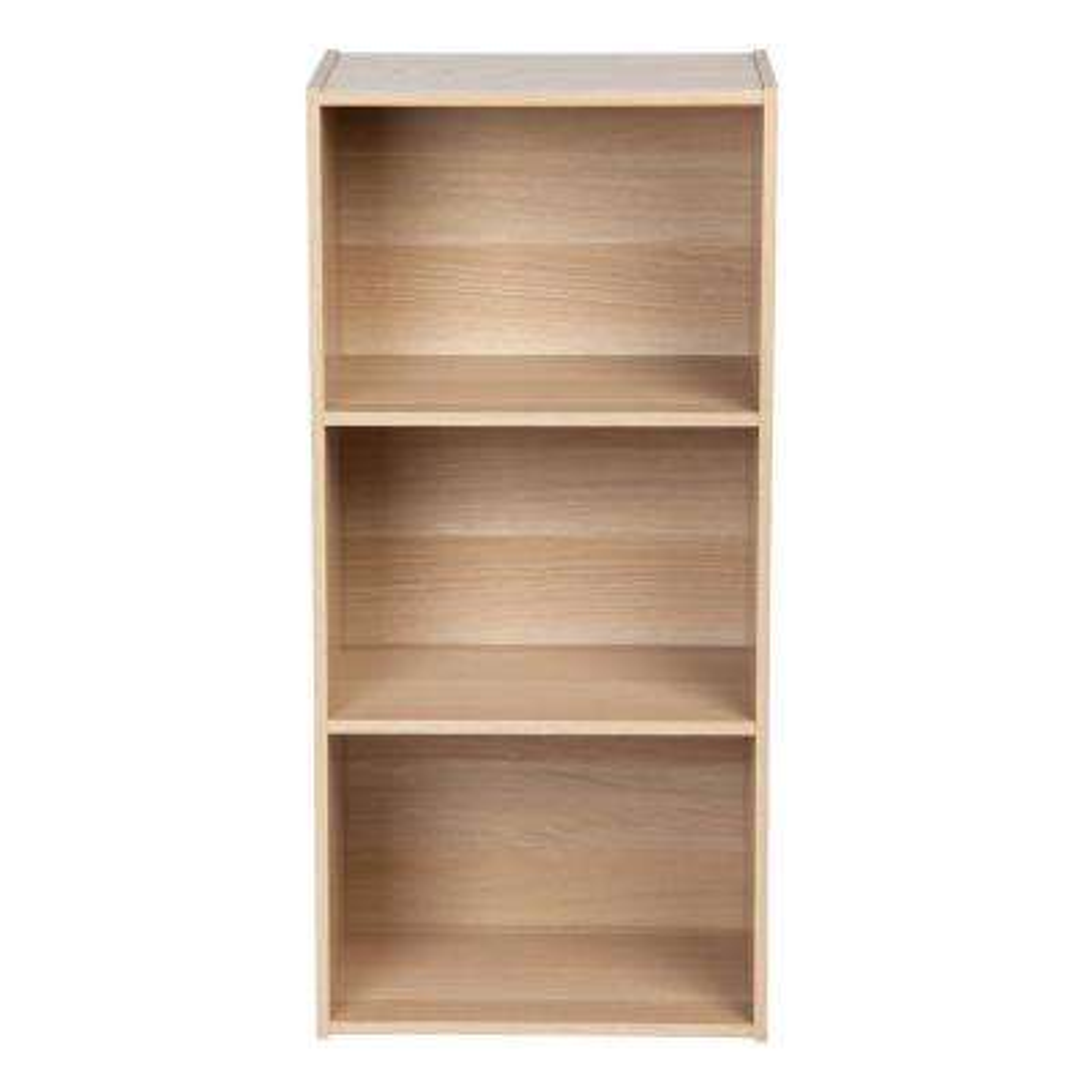 Light Brown 3-Tier Basic Wood Bookcase Storage Shelf