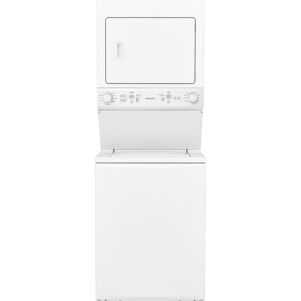 Frigidaire White Laundry Center with 3.9 cu. ft. Washer and 5.5 cu. ft. Gas Dryer The Frigidaire Top Load Washer/Gas Dryer conveniently stacks the 5.5 cu. ft. gas dryer on top of the 3.9 cu. ft. washer to save space. This super-efficient system offers eight multiple wash cycles to meet all of your washing needs such as delicate, bedding and casual. Four different drying cycles meet all of your drying needs, including delicate, casuals and heavy-duty. Featured in a classic, white finish to complement your laundry area. Search matching electric Dryer model FFLE3900UW.