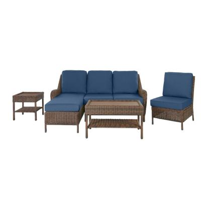 Cambridge 5-Piece Brown Wicker Outdoor Patio Sectional Sofa Seating Set with CushionGuard Sky Blue Cushions
