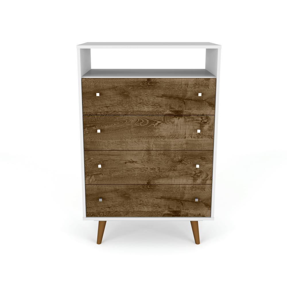 Manhattan Comfort Liberty 4-Drawer White and Rustic Brown Dresser Chest 209BMC69