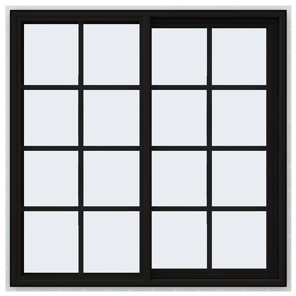 JELD-WEN 47.5 in. x 47.5 in. V-4500 Series Right-Hand Sliding Vinyl Window with Grids - Black