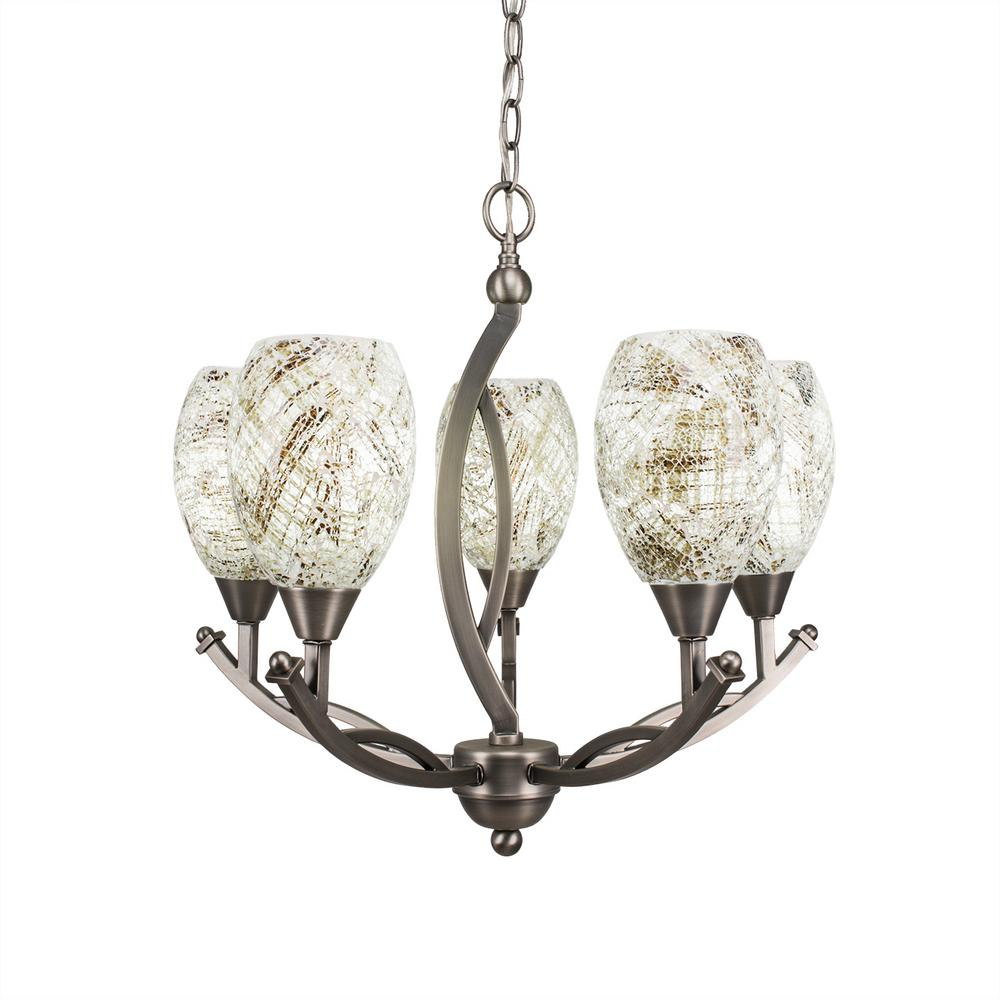 Filament Design 5-Light Brushed Nickel Chandelier with 5 in. Natural Fusion Glass