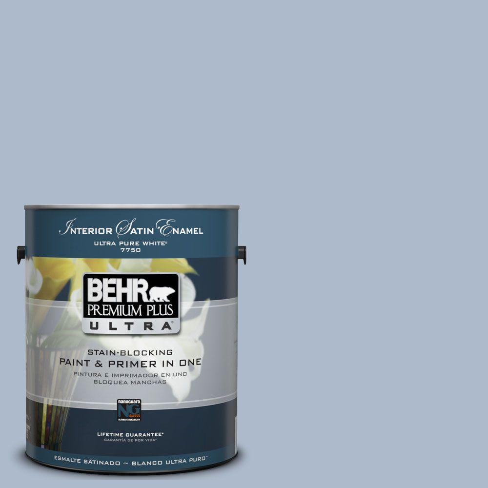 BEHR Premium Plus Ultra 1-Gal. #UL240-15 Simply Blue Interior Satin Enamel Paint