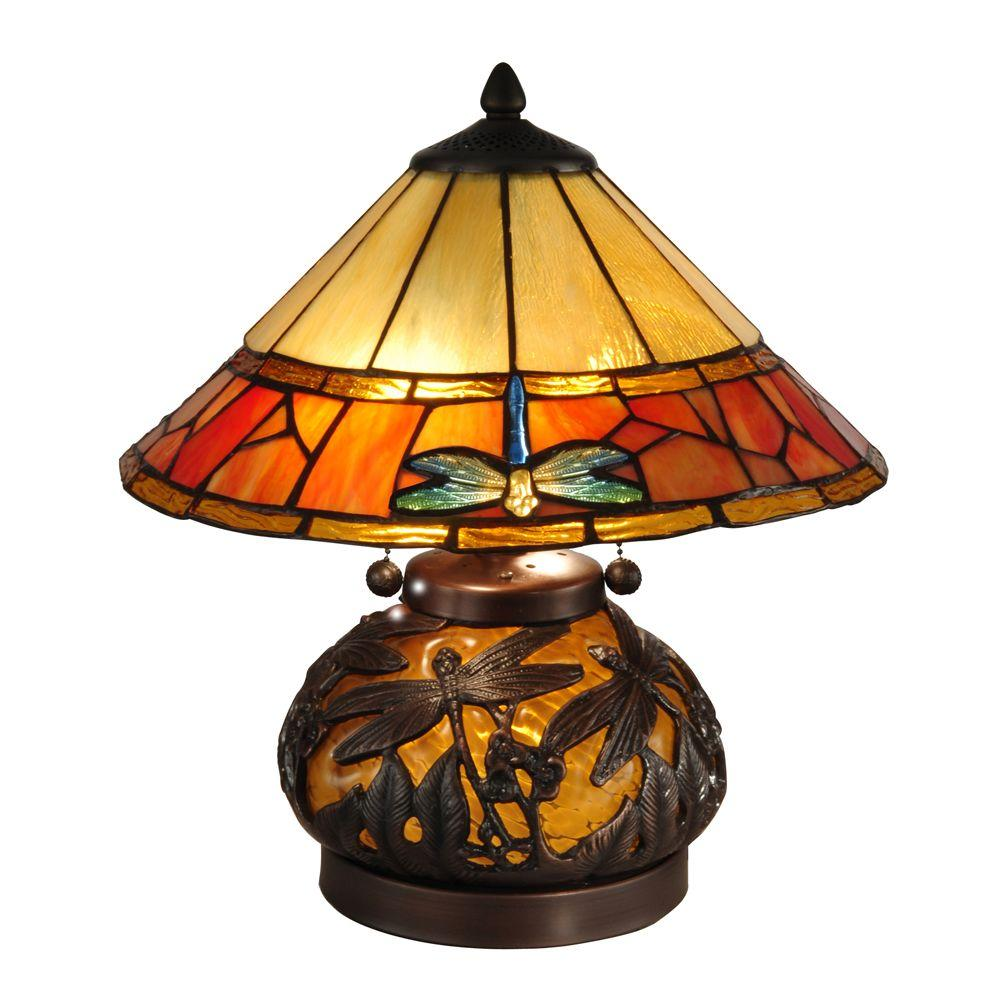 Dale Tiffany 16.75 in. Genoa Dark Antique Bronze Table Lamp with Night Light