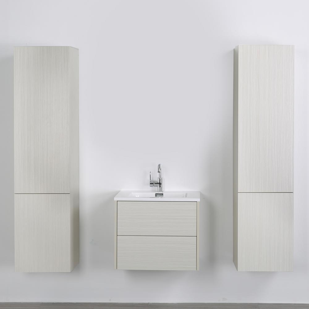 Streamline 23.6 in. W x 19.3 in. H Bath Vanity in Gray with Resin Vanity Top in White with White Basin
