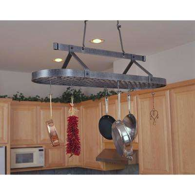 Handcrafted 48 in. Oval Ceiling Pot Rack with 18 Hooks Hammered Steel
