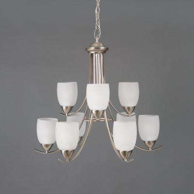 Mirror Lake 9-Light Brushed Nickel Hanging Chandelier with White Etched Glass Shade