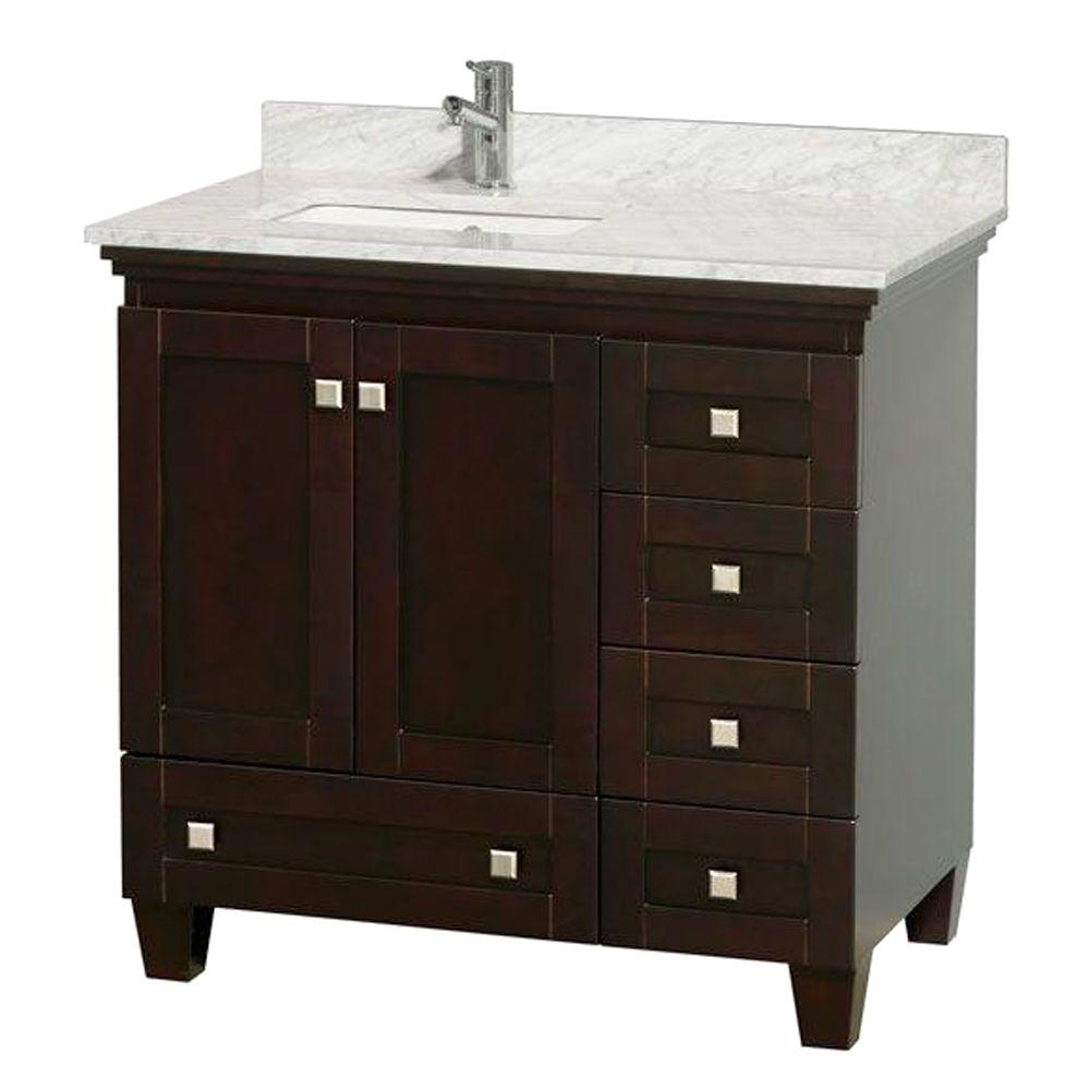Acclaim 36 in. Vanity in Espresso with Marble Vanity Top in