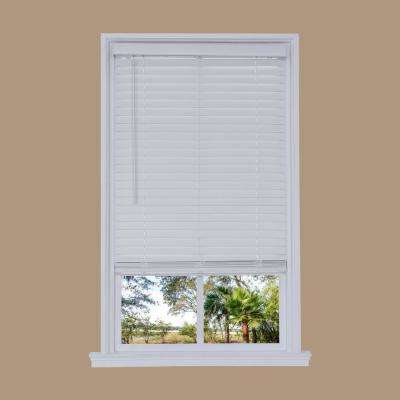 White Cordless 2 in. Embossed Faux Wood Blind 70 in. W x 72 in. L