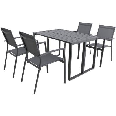 Conrad Gray 5-Piece Aluminum Outdoor Dining Set with 4 Stackable Sling Chairs and Convertible Slatted Table