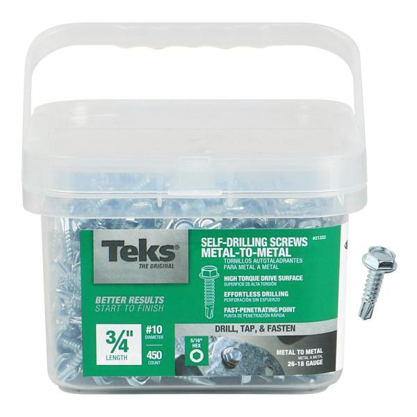 Teks 10 16 X 3 4 In External Hex Washer Head Drill Point Screw 450 Pack 21322 The Home Depot