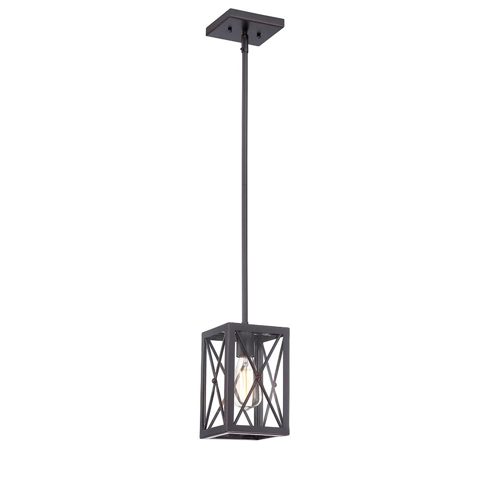1 Light Royal Bronze Mini Pendant With Cage Design Shade