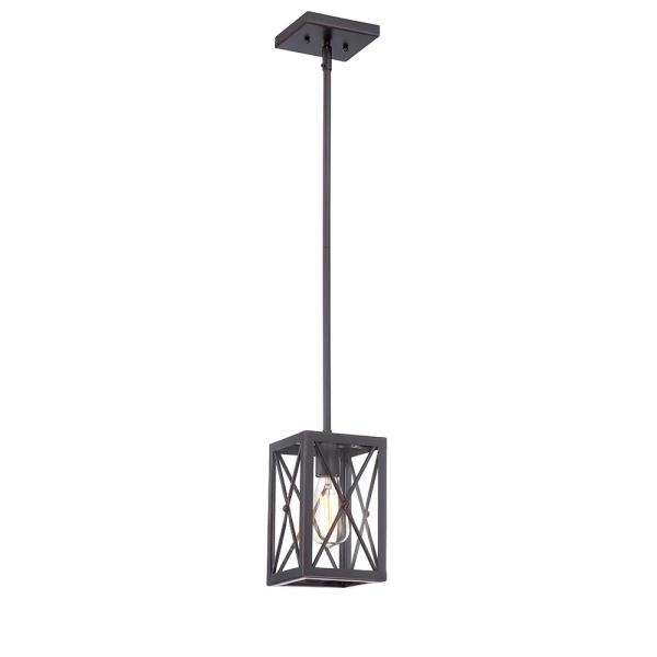 Harwood 1-Light Royal Bronze Mini-Pendant with Cage Design Shade