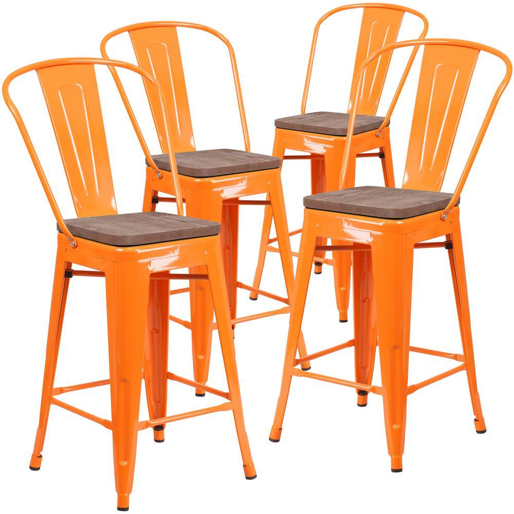 24.25 in. Orange Bar Stool (4-Pack)