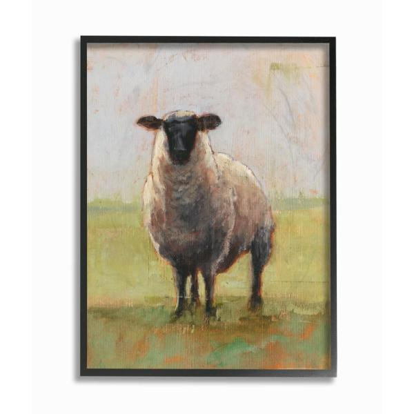 11 In X 14 Painterly Away From Flock Sheep By Ethan Harper Printed Framed Wall Art