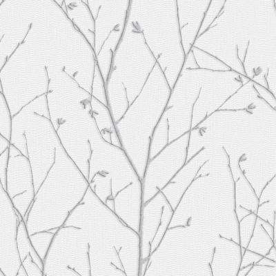 Evita Water Silk Sprig Light Silver Wallpaper Sample