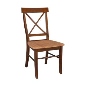 Cinnamon and Espresso Wood X Back Dining Chair (Set of 2)