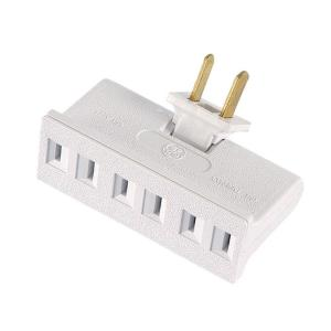 GE Polarized 3-Outlet Adapter with Space Saving Side Outlets - White ...
