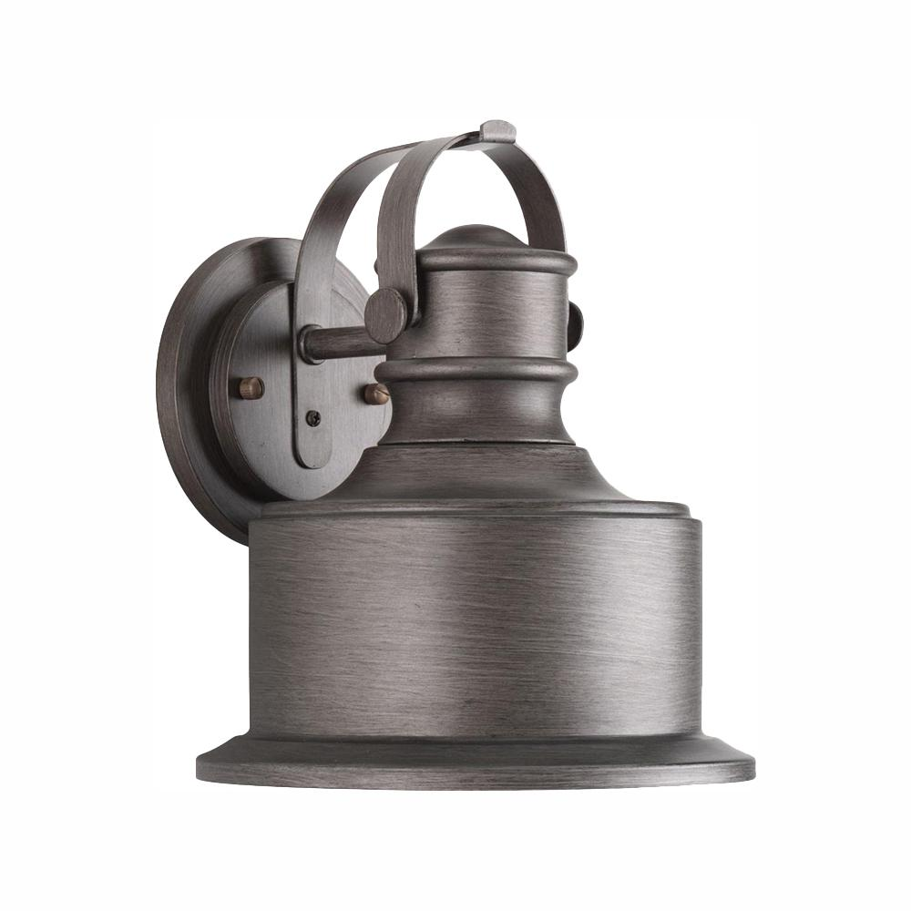 Progress Lighting Callahan Collection 1-Light Antique Pewter 10 in. Outdoor Integrated LED Wall Lantern Sconce