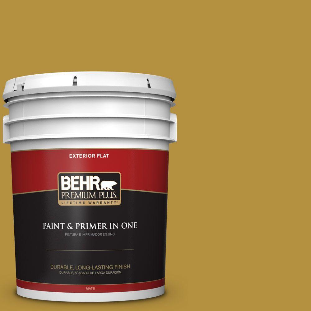 BEHR Premium Plus 5-gal. #370D-7 Venetian Gold Flat Exterior Paint