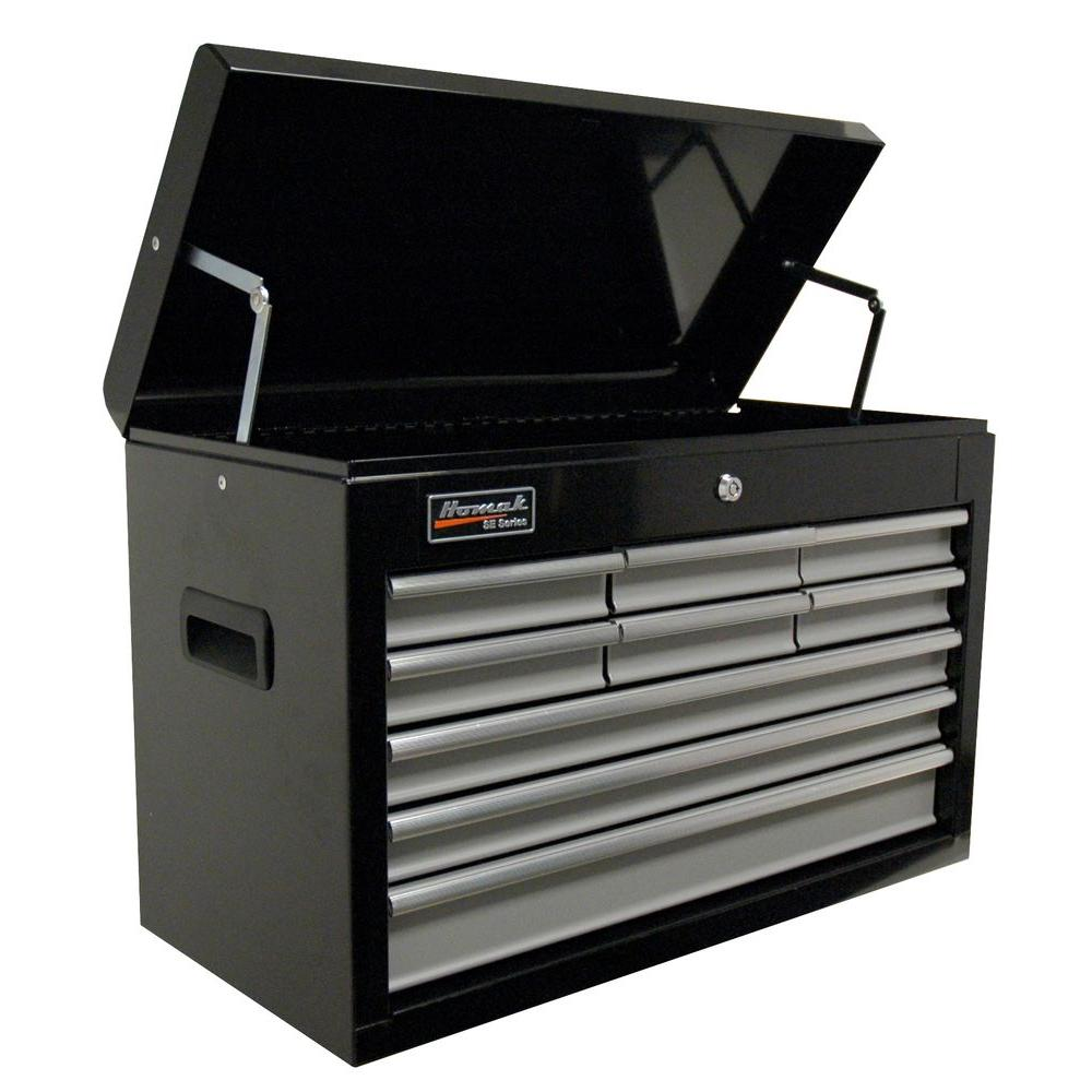 Homak SE Series 27 in. 9 Drawer Tool Chest, Black and Gray