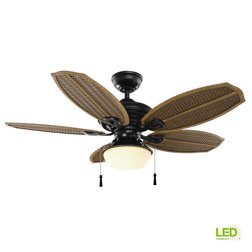 Hampton bay palm beach iii 48 in led indoor outdoor natural iron ceiling fan
