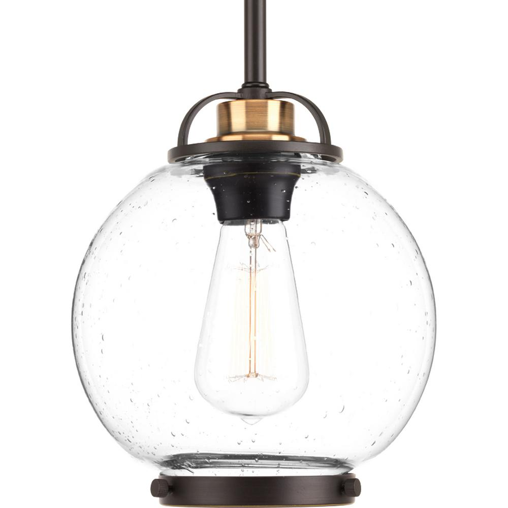 Progress lighting chronicle collection 1 light antique bronze mini progress lighting chronicle collection 1 light antique bronze mini pendant with clear seeded glass aloadofball Image collections