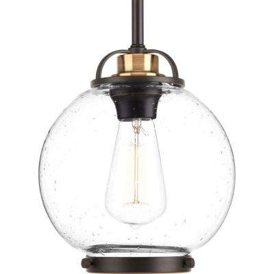 Chronicle Collection 1-Light Antique Bronze Mini Pendant with Clear Seeded Glass