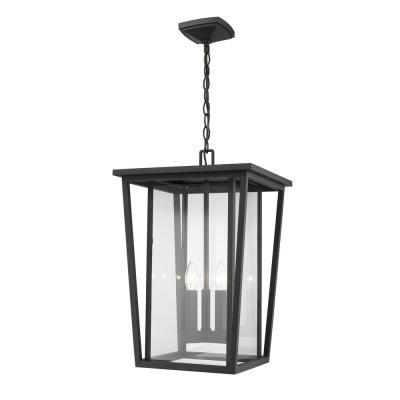 3-Light Black Outdoor Pendant Light with Clear Glass Shade