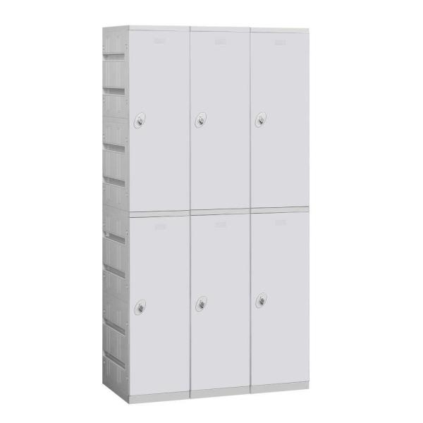 92000 Series 38.25 in. W x 74 in. H x 18 in. D 2-Tier Plastic Lockers Assembled in Gray