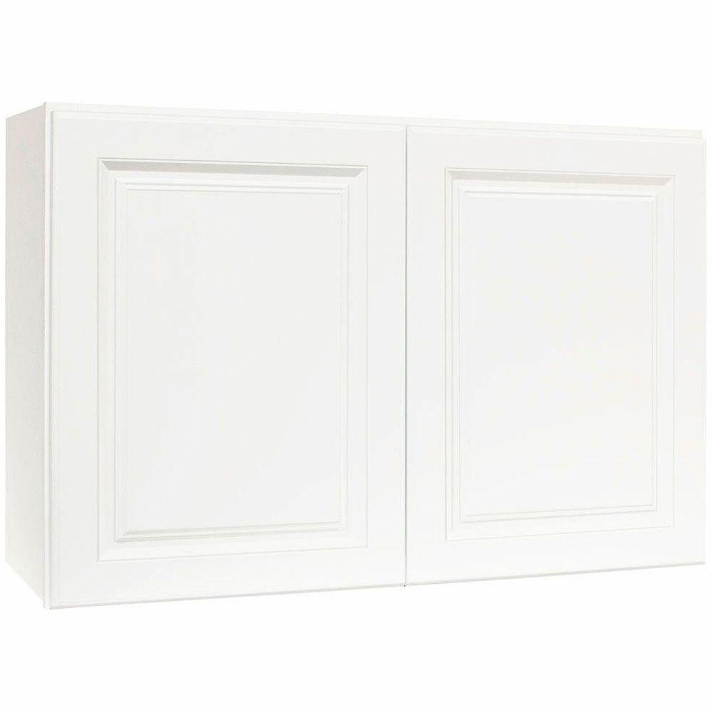 Hampton Assembled 36x23.5x12 in. Wall Bridge Kitchen Cabinet in Satin White