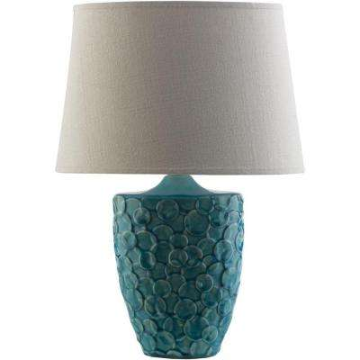 Tihanyi 19.75 in. Teal Indoor Table Lamp