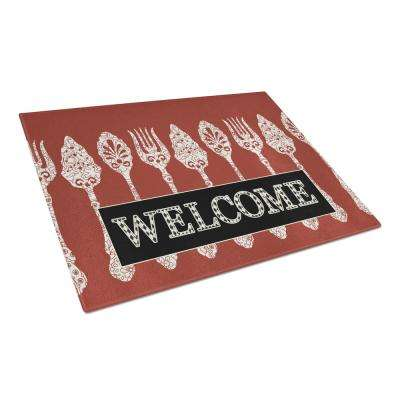 Serving Spoons Welcome Tempered Glass Large Cutting Board