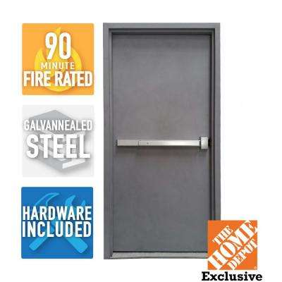36 in. x 80 in. Fire-Rated Gray Left-Hand Flush Steel Commercial Door and Frame with Panic Bar and Hardware